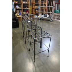 FOUR METAL BAR HEIGHT STOOLS