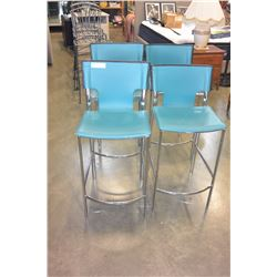 FOUR METAL AND TEAL LEATHER BAR STOOLS ITALIAN DESIGN
