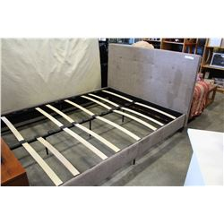 NEW HOME ELEGANCE BEIGE FABRIC QUEENSIZE PLATFORM BEDFRAME, RETAIL $899