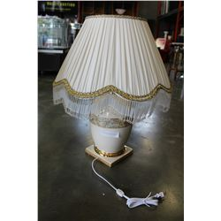 NEW ITALIAN PORCELAIN WHITE GOLD LAMP WITH FRINGED SHADE