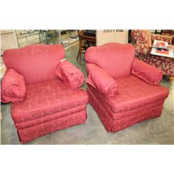 2 RED UPHOLSTERED ARM CHAIRS