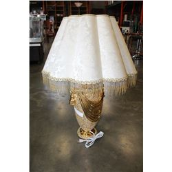 NEW ITALIAN GOLD PORCELAIN LAMP AND FRINGED SHADE