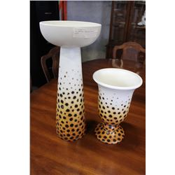 TWO UNUSUAL ITALIAN POTTERY VASES