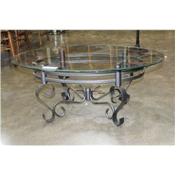 MODERN CHROME BASE GLASSTOP COFFEE TABLE