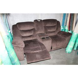 NEW HOME ELEGANCE TWO SEAT RECLINING SOFA, WITH CONSOLE, FREIGHT DAMAGE, BENT RECLINER ARMS,