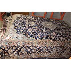 NEW, LARGE 3X4 METER 100% WOOL HAND MADE-KNOTTED PERSIAN KASHAN BLUE AND WHITE CARPET, LEATHER BOUND