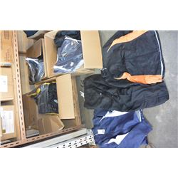 FOUR BOXES OF NEW BLACK/ GOLD AND BLACK/ BLUE ATHLETIC JACKETS + PANTS