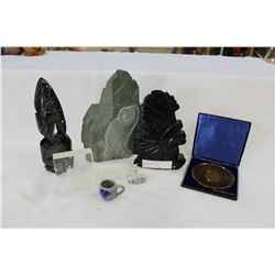 LOT OF STONE CARVINGS AND METAL PLATE