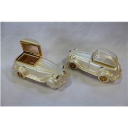 TWO ITALIAN LIDDED DRESSER BOXES VINTAGE VEHICLES