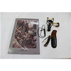 SIGNED REMINGTON AD AND KNIFE AND SLING SHOT AND BULLET CASE NECKLACE