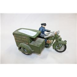 DIE CAST POST OFFICE MOTORCYCLE WITH SIDE CAR