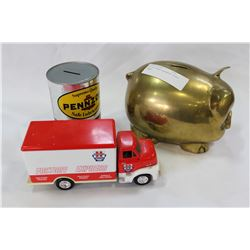 LOT OF THREE ASSORTED PIGGY BANKS