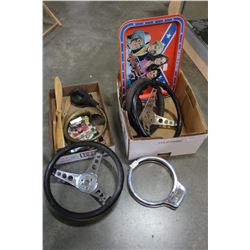 TWO BOXES OF AUTOMOTIVE STEERING WHEELS ETC
