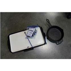 OSTER ELECTRIC GRIDDLE AND CAST IRON FRY PAN