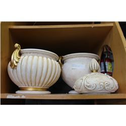 LIDDED POTTERY PLANTER AND OTHER POTTERY PLANTER