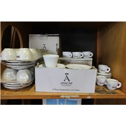 SHELF LOT OF NEW DEMITASSE COFFEE SETS