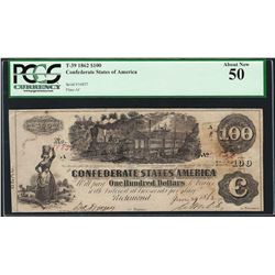 1862 $100 Confederate States of America Note T-39 PCGS About New 50