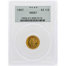 1907 $2 1/2 Liberty Head Quarter Eagle Gold Coin PCGS MS62