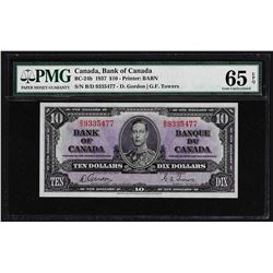 1937 $10 Bank of Canada Note PMG Gem Uncirculated 65EPQ