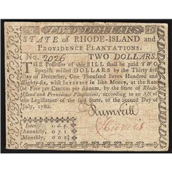 July 2, 1780 $2 Rhode Island Colonial Currency Note