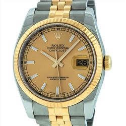 Rolex Mens 18KT Two Tone DateJust Wristwatch
