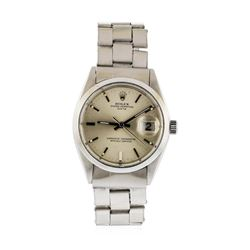 Mens Stainless Steel Rolex Date Wristwatch