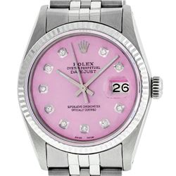 Mens Rolex 36mm Stainless Steel Ice Pink Diamond Datejust Wristwatch
