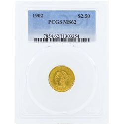 1902 $2 1/2 Liberty Head Quarter Eagle Gold Coin PCGS MS62