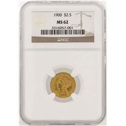 1900 $2 1/2 Liberty Head Quarter Eagle Gold Coin NGC MS62