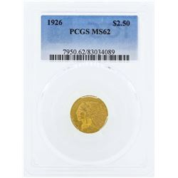 1926 $2 1/2 Indian Head Quarter Eagle Gold Coin PCGS MS62