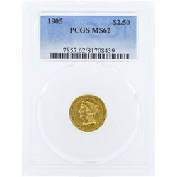 1905 $2 1/2 Liberty Head Quarter Eagle Gold Coin PCGS MS62