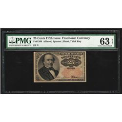 1874 Twenty Five Cents Fifth Issue Fractional Note PMG Choice Uncirculated 63 Ne