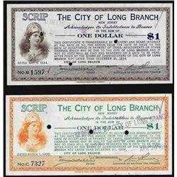 Lot of (2) 1934-1935 $1 City of Long Beach Scrip Notes