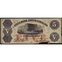 1860 $5 The State Bank South Carolina Obsolete Bank Note