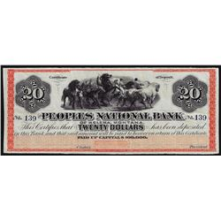 1800's $20 The Peoples National Bank Helena, MT Obsolete Bank Note