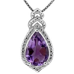 Natural Amethyst & Diamond Pendant