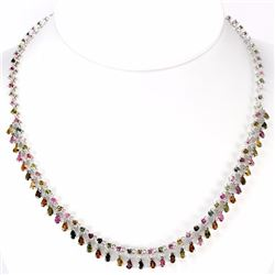 Natural Fancy Tourmaline Pear & Round Necklace