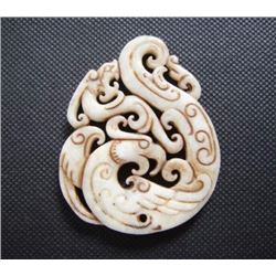 Old China White jade carved Dragon and phoenix Pendant