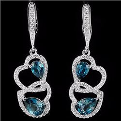 Natural London Blue Topaz Hearts Earrings