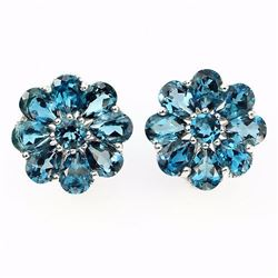 Natural London Blue Topaz 55 Carats Earrings