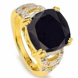 Natural Black Sapphire & Diamond Ring