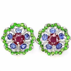 Natural RUBY SAPPHIRE & CHROME DIOPSIDE Earrings