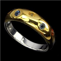 Natural Fancy Sapphire Two Tone Ring
