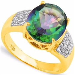 Natural Green Mystic & Diamond Ring