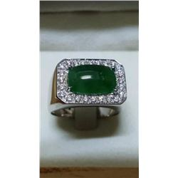 Natural Burmese Jade & Diamond Solid 18k Gold Ring