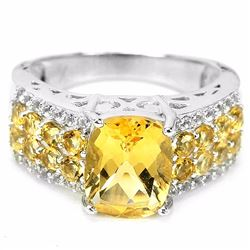ORANGISH YELLOW CITRINE & WHITE TOPAZ RING