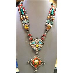 Tibet Natural Amber Tribal Queen Royal Necklace
