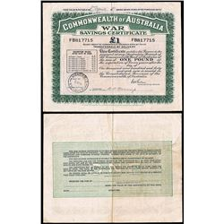 WWII Commonwealth of Australia, War Savings Certificate, One Pound, 1944