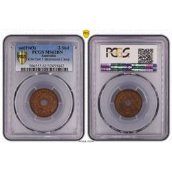 Australia, KGVI, Two Shillings, Internment Camps, 1943, PCGS MS62BN