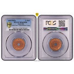 Australia, KGVI, Two Shillings, Internment Camps, 1943, PCGS MS65RB